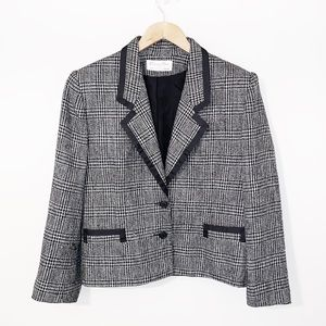 CHRISTIAN DIOR Black Tweed Blazer Single Breasted
